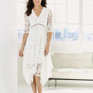 Just Taylor Dress White Lace Handkerchief Hem 8